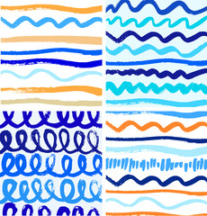 Set of abstract paint patterns with ink lines. Vector backgrounds collections with brushes strokes