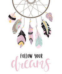 Inspirational quote with dreamcatcher