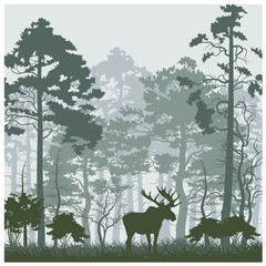 Vector nature landscape with moose