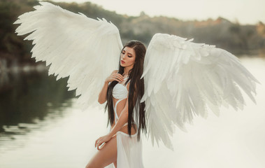 A beautiful white archangel descended from heaven. A girl in a sexy suit with huge white wings. Artistic Photography