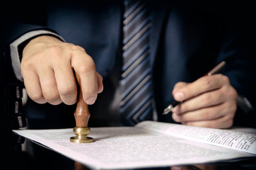Lawyer or attorney at notary public office