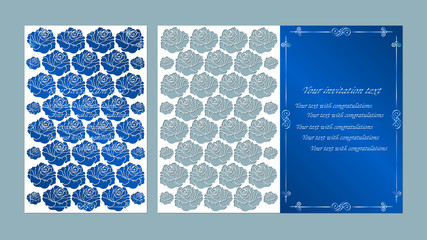 Vector illustration Postcard. Invitation and greeting card. flowers. Pattern for the laser cut. rose