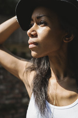 Beautiful black woman portrait with hat