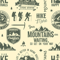 Hiking seamless pattern or background.