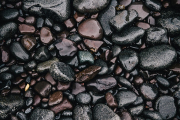 Smooth wet pebbles on beach