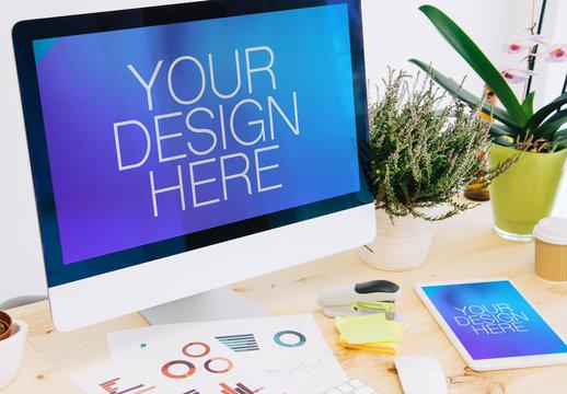 Desktop Computer and Tablet on Work Desk Mockup 1