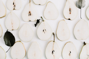 Pear slices pattern. Flat lay, top view minimal texture.