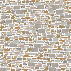 Stone Block Wall, Seamless pattern. Background made of wild bricks. grey, red, sand, yellow, brown,