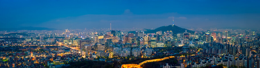 Aluminium Prints Asian Famous Place Seoul skyline in the night, South Korea.