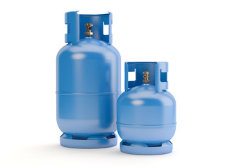 Two blue gas bottles