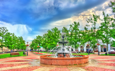 Fountain on Soviet Square in the old town of Kostroma, Russia