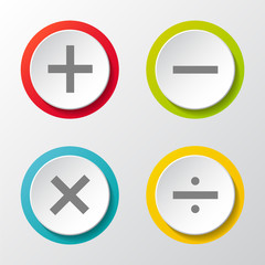 Math symbol - 3d icons on grey background. Vector.
