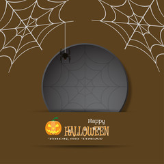 Vector illustration of Halloween greeting poster with dark gray round label cut from paper, spider, net on the brown background.