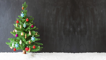 Colorful Christmas Tree, Snow, Copy Space