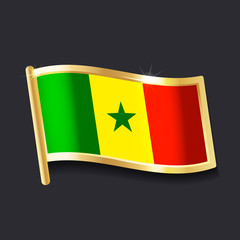 flag of Senegal in the form of badge, flat image