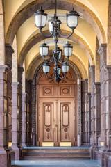 Vaults of external corridor with lamps at Kiev, Ukraine.
