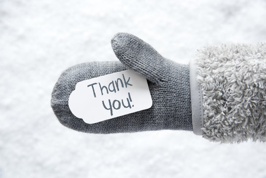 Wool Glove, Label, Snow, Text Thank You