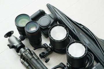 撮影機材、カメラ、レンズ、ストロボ、三脚