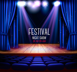 A theater stage with a blue curtain and a spotlight. Festival night show background. Vector.