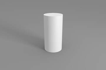 3d of white cylinder on a gray background