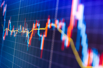 Stock market graph and bar chart price display. Live stock trading online. Market trading screen. Price chart bars. Stock exchange graph. Finance concept. Stock market graph on the screen.