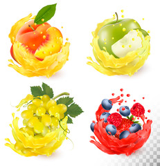Set of fruit juice splash. Grapes, apple, peach, blueberry, raspberry, strawberry. Vector
