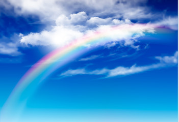 Vector blue sky panorama with white clouds and rainbow. Vector background.