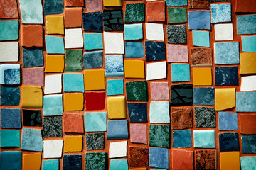 mosaic with colored tiles on a wall Fototapete