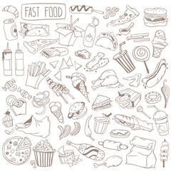 Fast food doodle set. Popular street food, snacks and take away drinks - burger, pizza, french fries, hot dog, donut, sandwich, cola. Freehand vector drawing isolated on white background.