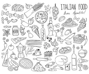 Italian cuisine doodle set. Traditional food and drinks - pizza, lasagna, risotto, gelato, pasta, spaghetti, wine. Freehand vector drawing isolated on white background.