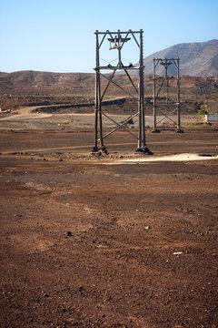 Wooden salt transportation rigs in Pedra de Lume. Cape Verde