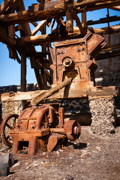 Rusty machinery of cableway in Salinas, Cape Verde