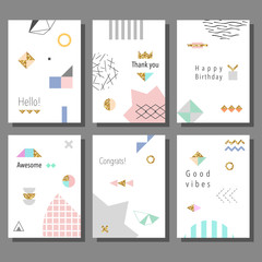 Set of artistic colorful universal cards. Wedding, anniversary, birthday, holiday, party. Design for poster, card, invitation. Vector illustration