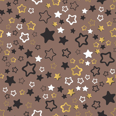 Shiny stars style seamless pattern pentagonal gold award abstract design doodle night artistic background vector illustration.
