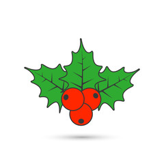 Christmas mistletoe flat icon. Vector color holly berry icon