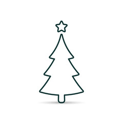 Fir tree outline icon. Spruce vector line symbol