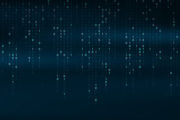 Abstract binary code background. Falling, streaming binary code background. Digital technology wallpaper