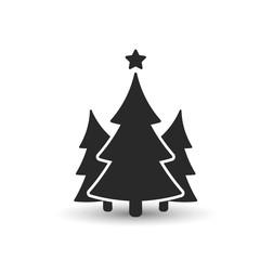 Fir tree icon. Three spruce vector illustration