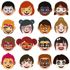 Face Painted Kids Illustration