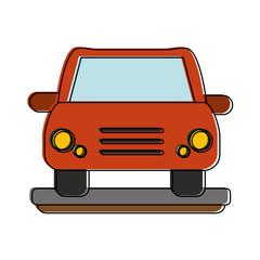 red car frontview icon image vector illustration design