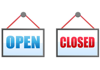 Open and closed hanging store notice vector image