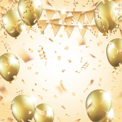 Gold balloons, confetti, streamers and party flag on gold background Vector