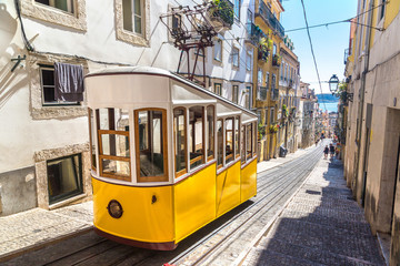 Funicular in the city center of Lisbon