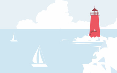 Red lighthouse on the coast and sailboats sailing in the sea