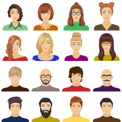 Appearance of the girl in glasses, a guy with a hairdo, a bald man with a beard and other varieties of face. Faces and appearance set collection icons in cartoon style vector symbol stock illustration