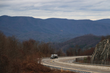 Truck on highway, Blue Ridge Mountains, Tennessee