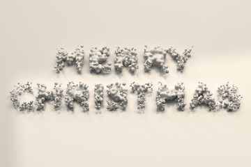 Liquid white Merry Christmas words with drops on white background
