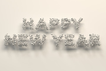 Happy New Year words from white balls on white background
