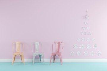 Christmas concept interior pastel room with white char , giftbox set for copy space. minimal concept.