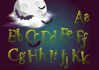 Halloween Typeset. Spooky Vector Font for Halloween Party. Grunge Green Hand Drawn Alphabet.